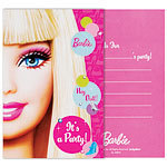 8 cartes d'invitation barbie