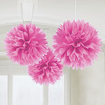 3 pompoms roses de décoration de 40cm