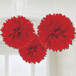 3 pompoms rouges de décoration de 40cm