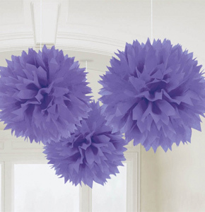 3 pompoms violets de décoration de 40cm