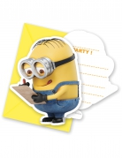 8 cartes d'invitation minions jaune