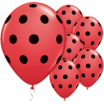 25 ballons rouges polka