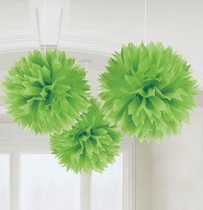 3 pompoms verts de décoration de 40cm