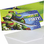 6 cartes d'invitation tortues ninja