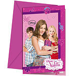 6 cartes d'invitation violetta