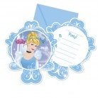 6 cartes d'invitation cendrillon