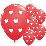 6 ballons coeur rouges