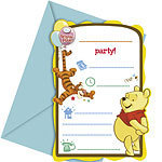 6 cartes d'invitation winnie the pooh