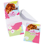 6 invitations poney