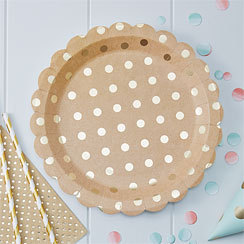 8 assiettes so chic polka doré