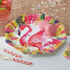 8 assiettes fun flamant