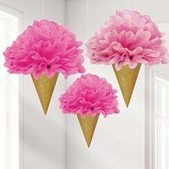 3 pompoms ice cream