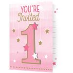 8 cartes d'invitation little star rose