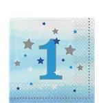 16 serviettes little star bleu 1 an