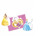 6 invitations princesse disney