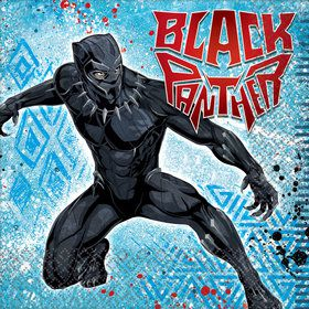 16 serviettes black panther